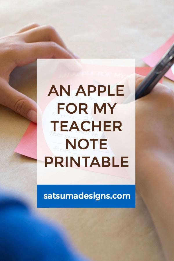 An Apple For My Teacher Note Printable