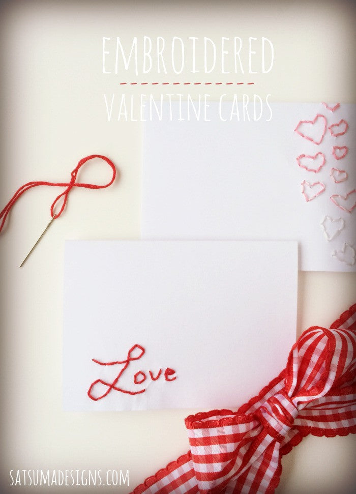 Embroidered Paper Valentines