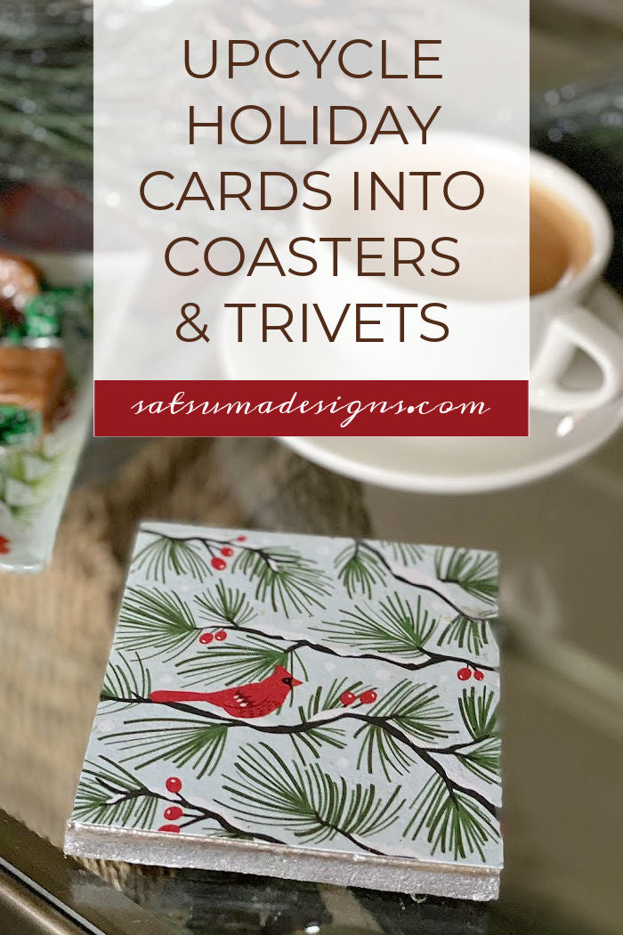 How To Easily Upcycle Holiday Cards Into Coasters and Trivets