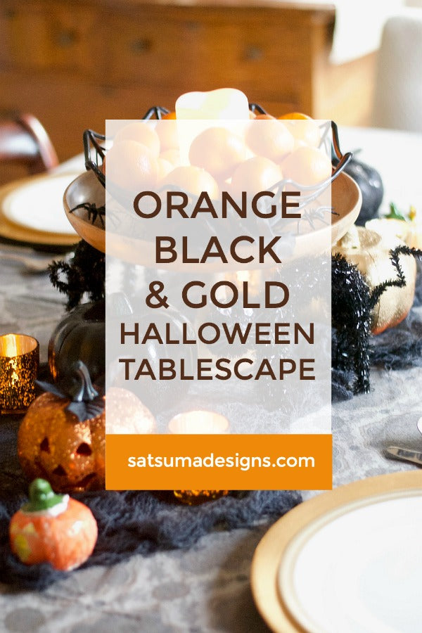 Orange, Black and Gold Halloween Tablescape