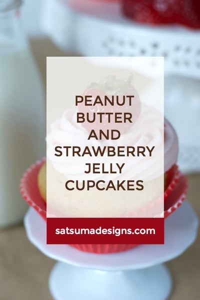 Peanut Butter and Strawberry Jelly Cupcakes