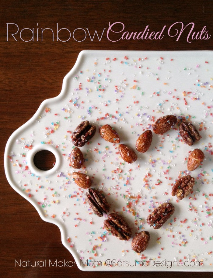 Gluten Free and Vegan Rainbow Candied Nuts