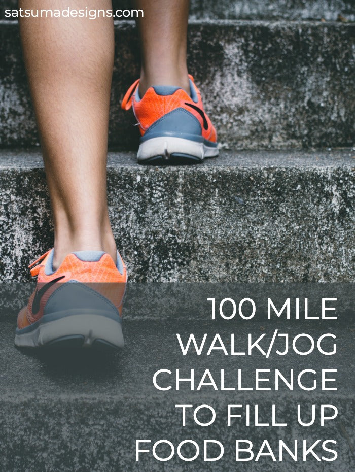 100 mile walk/run challenge to stock food banks in your community. Work on small sponsorships to raise $100 to feed hungry neighbors in your community. Start today and take the challenge! Use my printables to help you get started. #feedthehungry #100milechallenge #homeless #foodbank #foodbanks #community