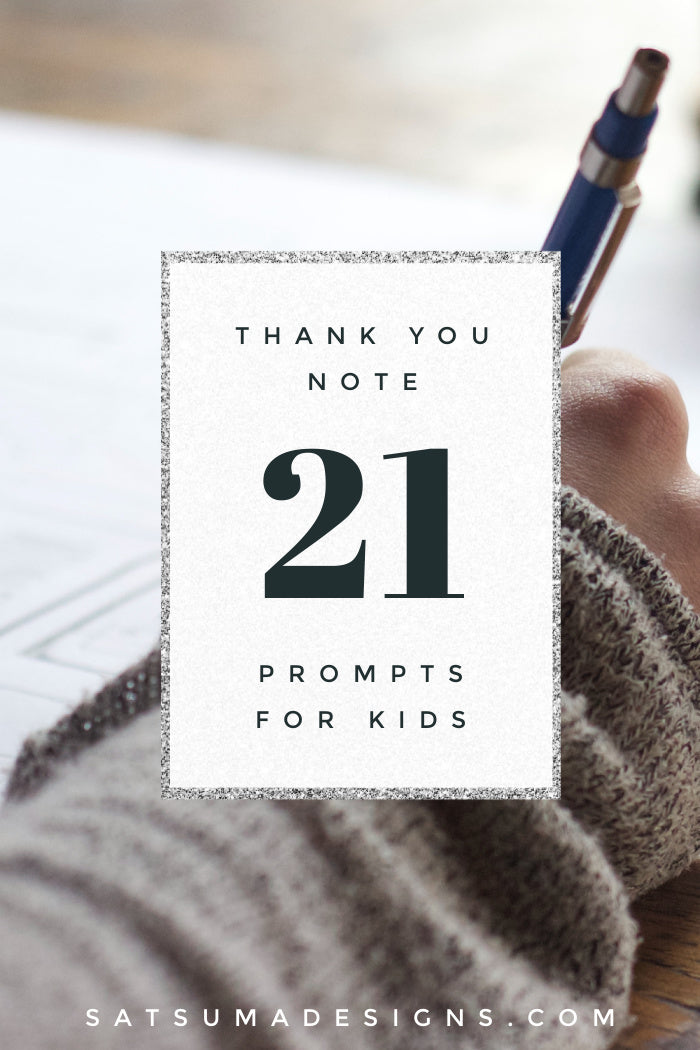 21 thank you note prompts for kids will help your children write thank you notes to friends and family easily and efficiently. Easy question and statement prompts make writing easy. #gratitude #thankyounote #manners #etiquette #mannersforkids #etiquetteforkids