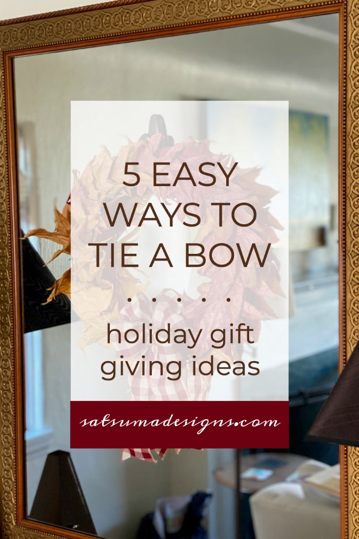 5 easy ways to tie a bow for holiday gift giving. Watch my short video on how to tie 5 different kind of bows for gifts and holiday decor. #bows #diy #howtotieabow #holidaydecor #holidaygifts #giftwrapping
