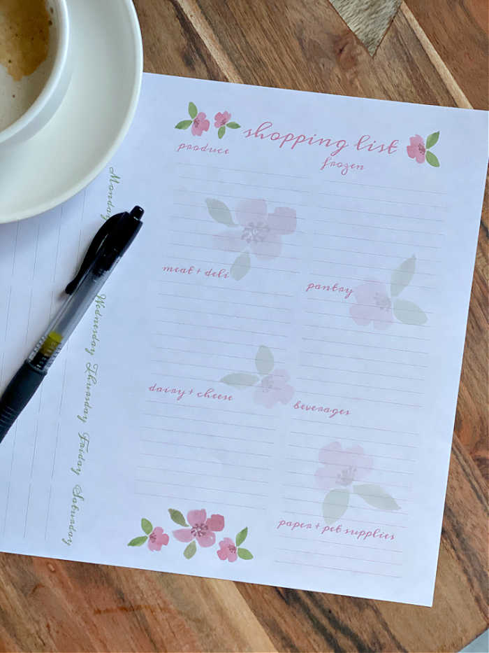 Printed meal planning worksheet with ball point pen
