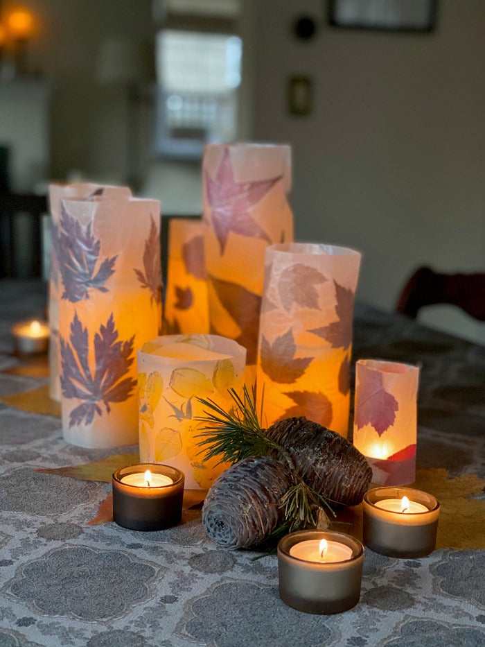 DIY fallen leaf luminaries are easy to make and a lovely way to enjoy the season. Try these after a nature walk with the kids to collect fallen leaves. Just waxed paper and a no-steam iron. #autumn #crafts #luminaries #naturecraft #processart