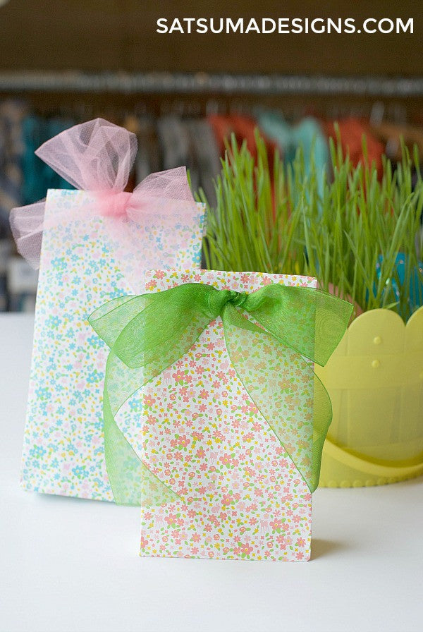 Paper gift bag with ribbons at top