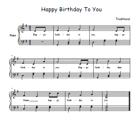 happy birthday song sheet music
