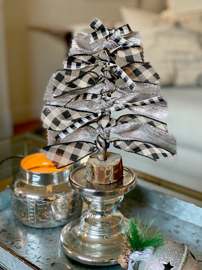 How To Make Festive Holiday Ribbon Trees From Upcycled Materials. This easy diy video shows you how to turn found objects and bin scraps into fun holiday decor. #upcycle #foundobjects #craftsforkids #holidaydecor #holidaydecorating