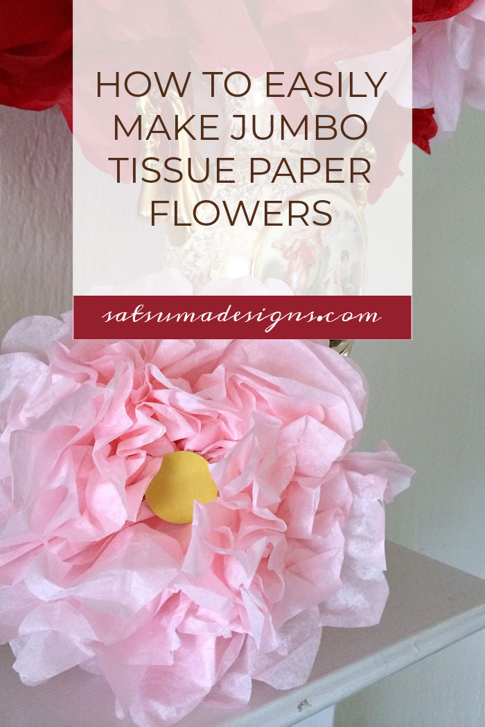 How to easily make decorative jumbo tissue paper flowers. Try these super festive and high impact project that is reusable for many seasons. #tissuepaper #peony #poppy #tissuepapercrafts #springdecor #easycraft