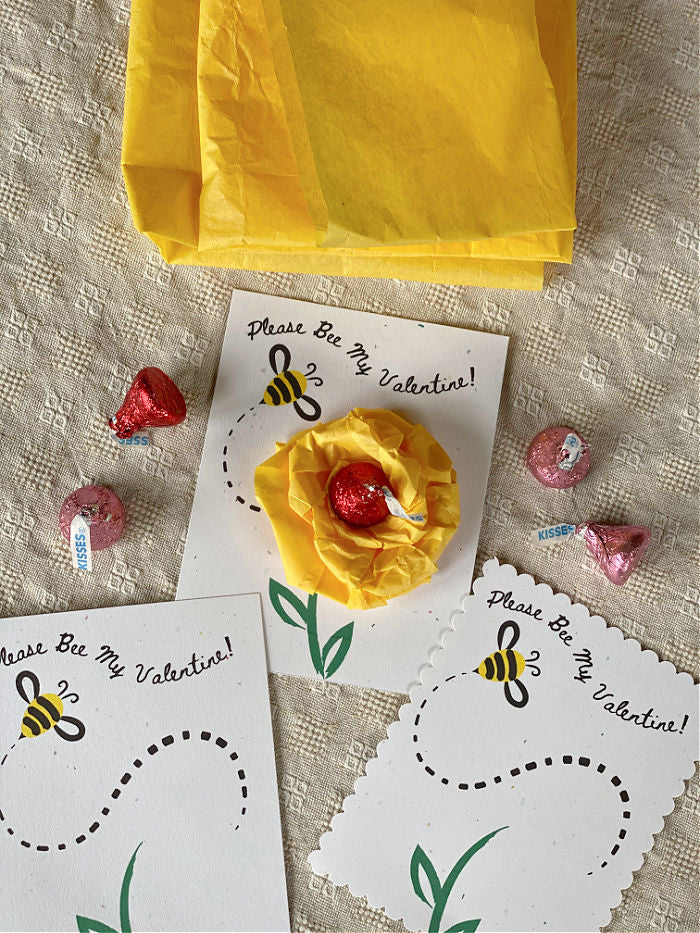 Try my Please Bee My Valentine classroom cards for school Valentine's Day parties! These easy to make cards are easy with my free printable. #valentinesday #tissuepaper #tissuepapercrafts #homeschool