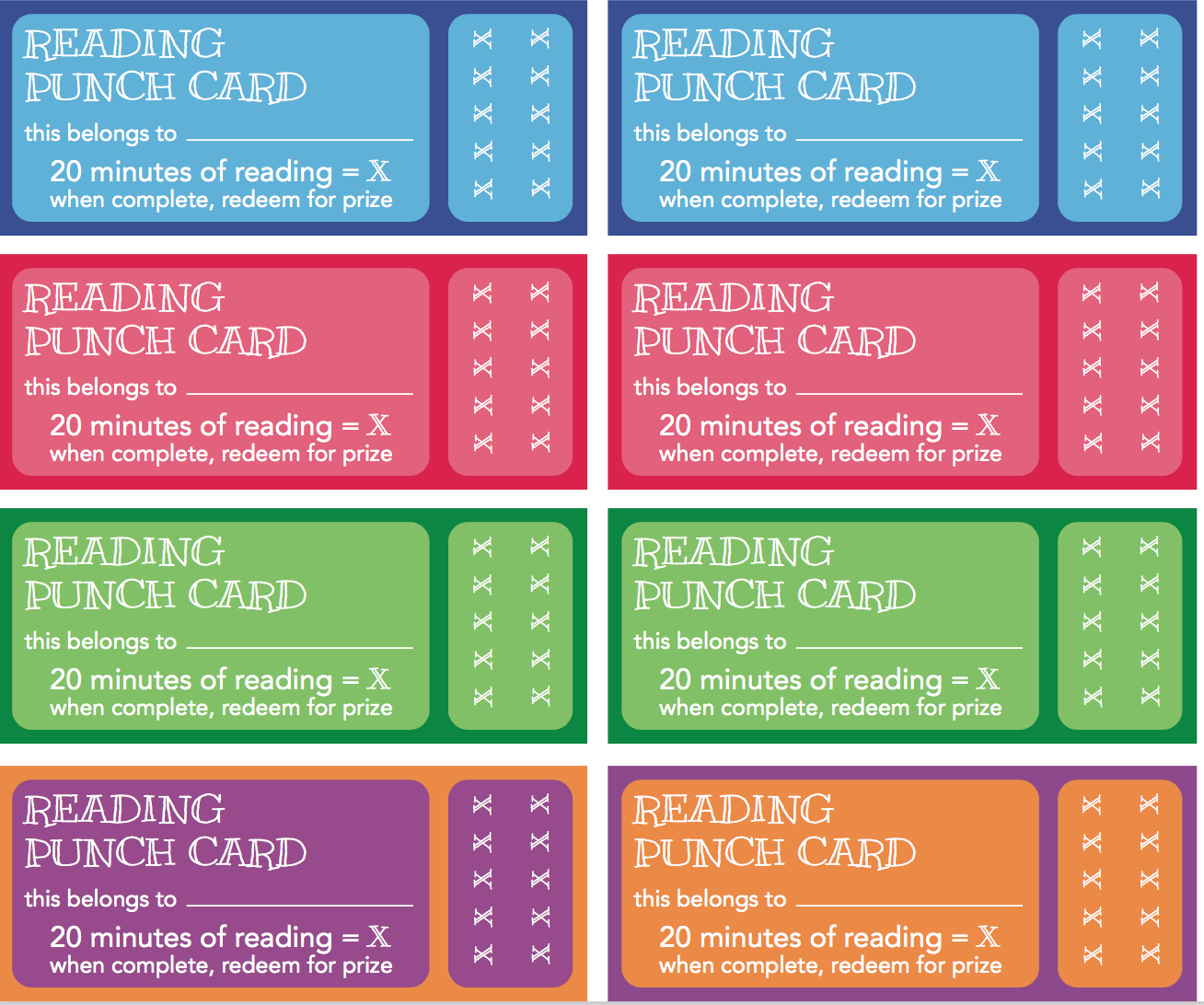reading punch card template