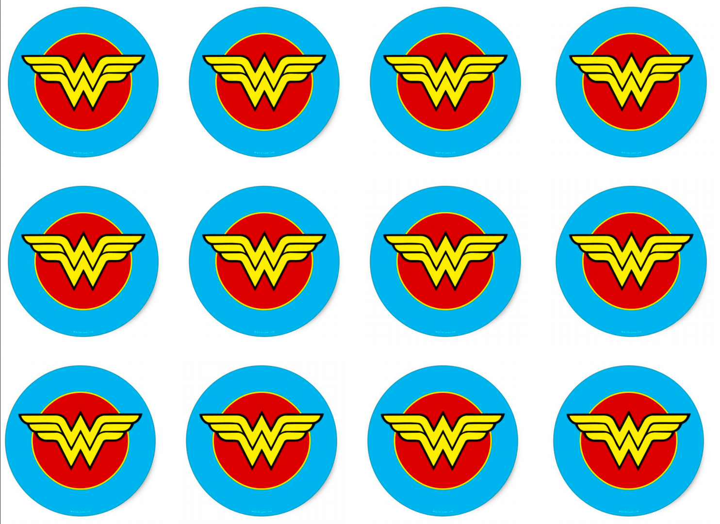 photo about Wonder Woman Printable Logo identify Marvel Female and Hawk Lady Cupcake Toppers Satsuma Layouts