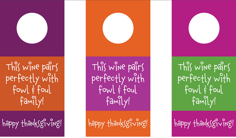 Thanksgiving wine bottle gift tag printable | Free printables | Funny gift tags | SatsumaDesigns.com #printables #gifttags