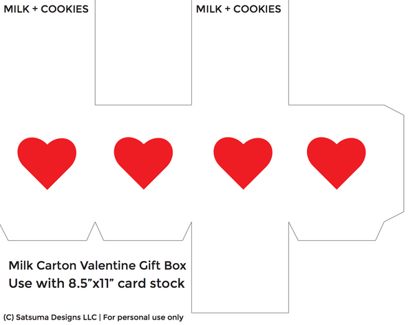 Milk and cookies valentine gift carton | Printables | PDF file | SatsumaDesigns.com #valentine