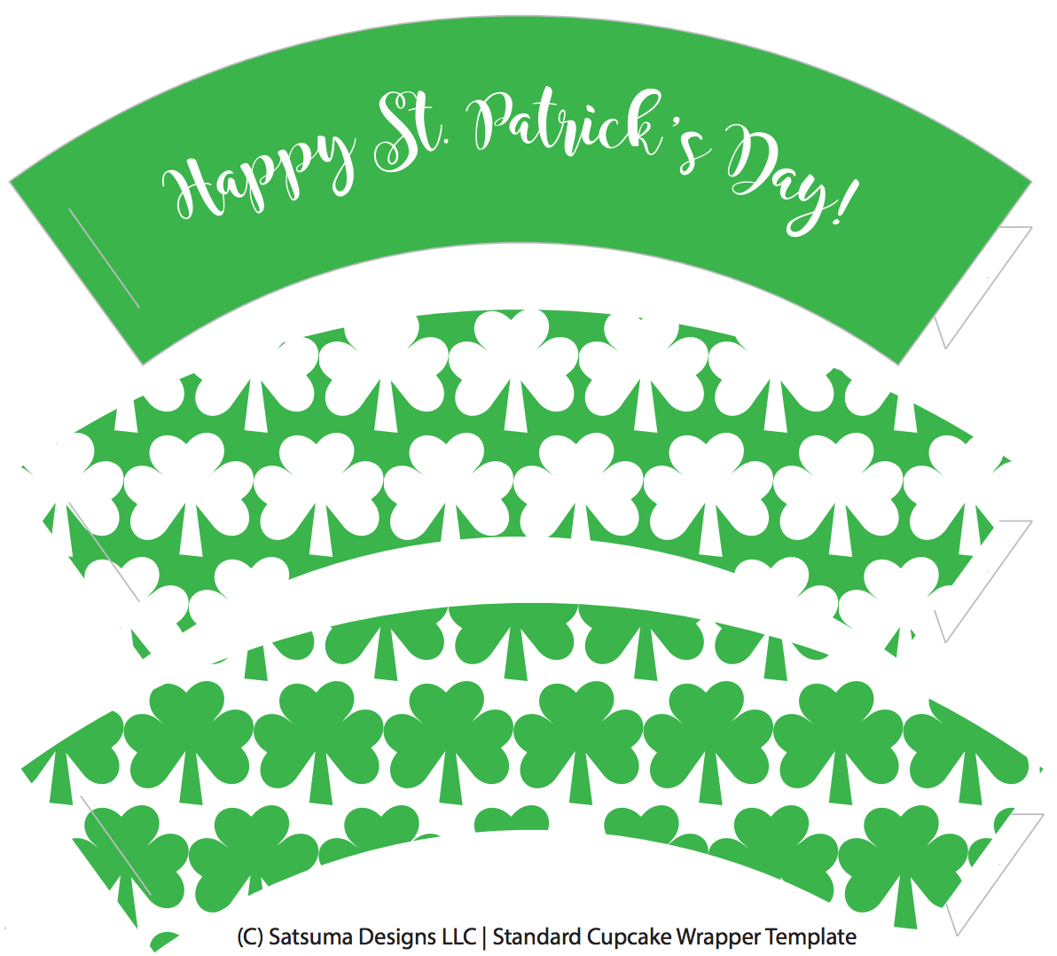 photo relating to Free Printable Cupcake Wrappers identified as St. Patricks Working day Cupcake Wrappers Satsuma Types