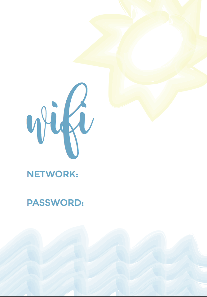 picture about Wifi Password Printable Free referred to as Summer season Visitor Place WIFI Printable Satsuma Ideas