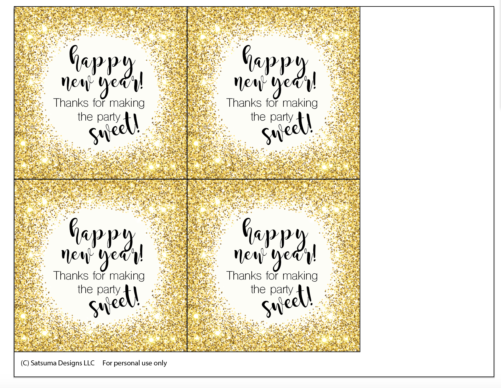 Click through to print and use my happy new year sweet party favor printables | New Years Eve party ideas | SatsumaDesigns.com #NYE #partyplanning #printables