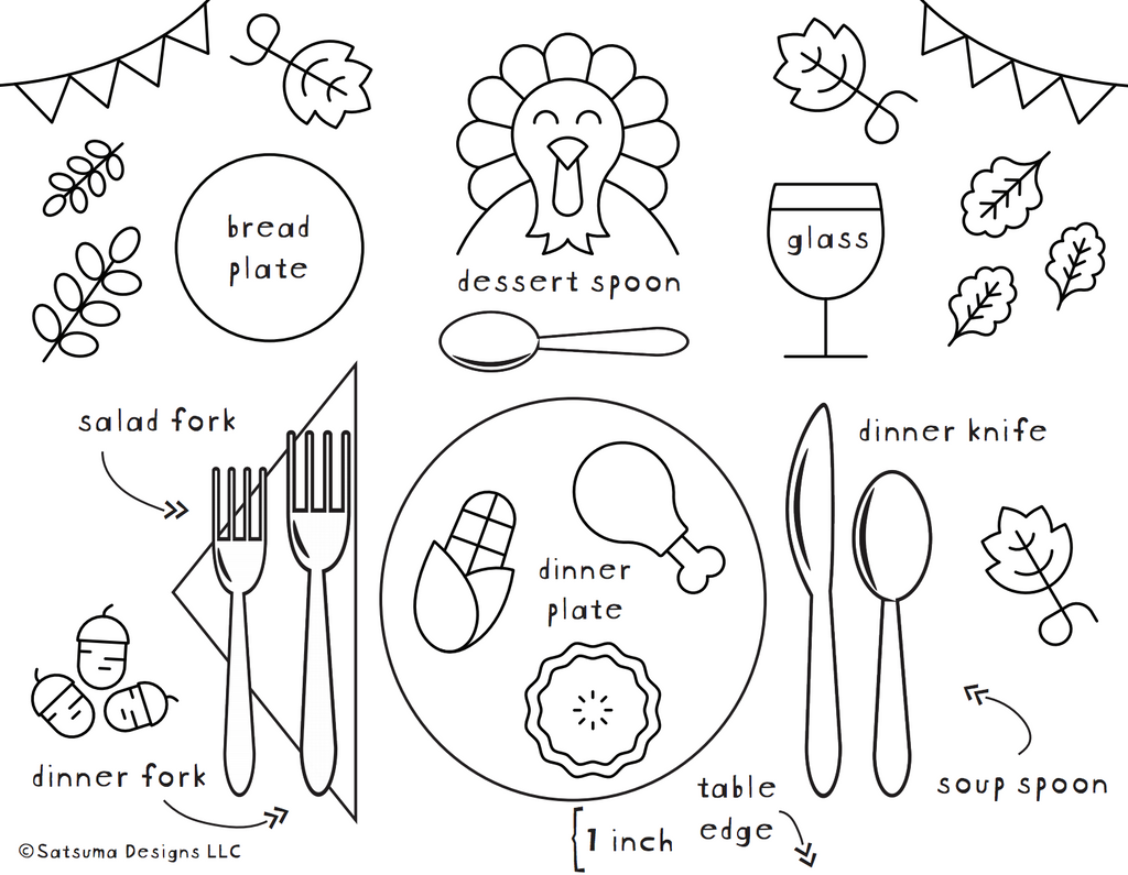 How to Set a Thanksgiving Table Coloring Page | Teach kids how to set the table for Thanksgiving and make it fun with a coloring page activity | #Thanksgiving #tablemanners #etiquette #courtesy #tradition #bekind #loveall