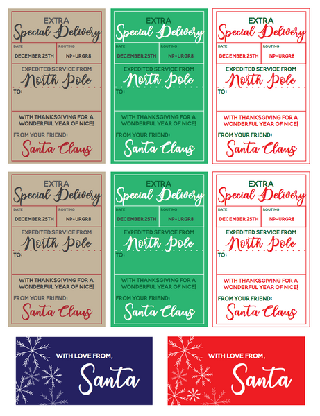 Santa's North Pole Delivery adhesive gift tags are a great solution for Christmas gift wrapping from the jolly old elf himself. This printable is easy to print onto Avery full sheet adhesive paper, cut to size and use right away. Enjoy! #printable #Christmas #SantaClaus #gifttags #gifttagprintable #adhesivegifttag #stickertags #stickergifttags