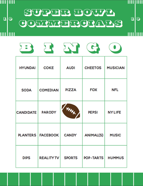 Super Bowl 54 Commercials Bingo Game Printable. Have fun at your Super Bowl party playing bingo with the commercials! Use these 4 versions. #superbowl #superbowl54 #superbowlLIV #bingo #printable #gameday #football #partygames #satsumadesigns