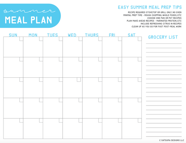 Summer meal planning printable to spend less time in the kitchen and more time with family having fun this summer! Quick meal plan printable has summer meal tips, grocery list and more. #summer #mealplanning #mealprep #fastmeals #summermeals #organize #printables