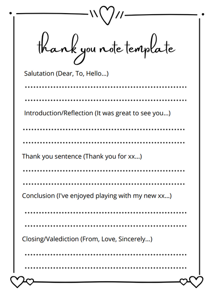 Thank you note template to make thank you note writing for kids easy