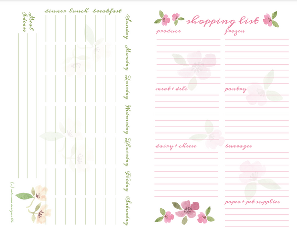 7 day meal planning and shopping list printable to make the week's meals a breeze. Use this weekly tool to keep organized for mealtime and shopping trips so you can enjoy other things! #mealplanning #parenting #adulting #mealprep #mealplan