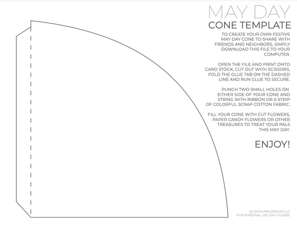 Paper cone template with written instructions