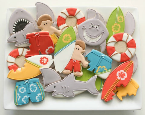 shark cookies surfer cookies shark week cookies