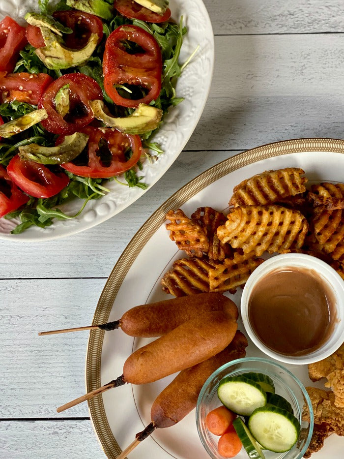 Air fryer kids dinner platter for quick and easy weeknight meals. My air fryer tips will help you help the kids both make dinner and enjoy a balanced dinner with air fryer treats and a tossed green salad. #airfryer #airfryerrecipes #whatsfordinner #kids #kidscook #chef #cook #airfrier #littlechefs #weeknight #mealplanning #dinner #dinnerrecipes #20minutemeals