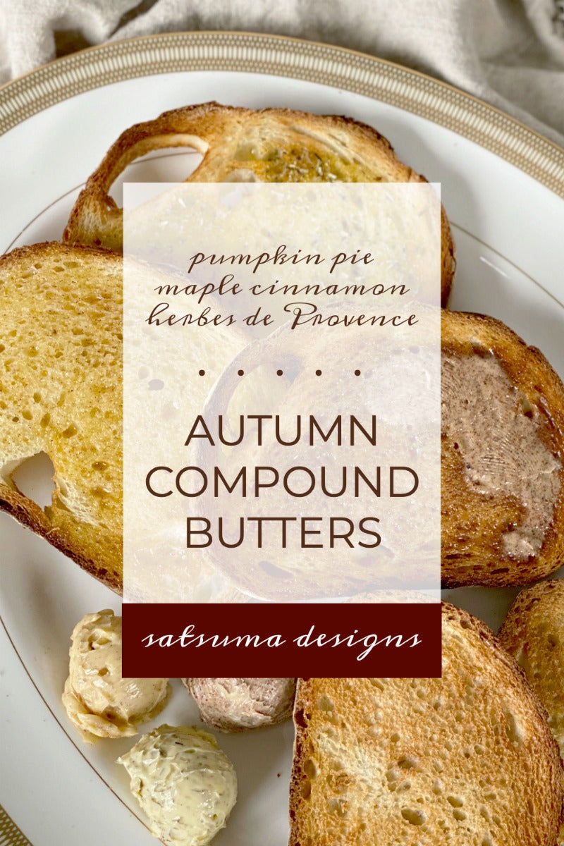 Savory and sweet Autumn compound butters in three yummy flavors including pumpkin pie, maple cinnamon and herbes de Provence. These butters take just minutes to make and can be use in all kinds of recipes for cooking and baking. Enjoy! #compoundbutter #butter #herbs #spices #pumpkinspice #pumpkinpie #cinnamon #Provence #salt #sugar #giftrecipes #hostessgift #prinables