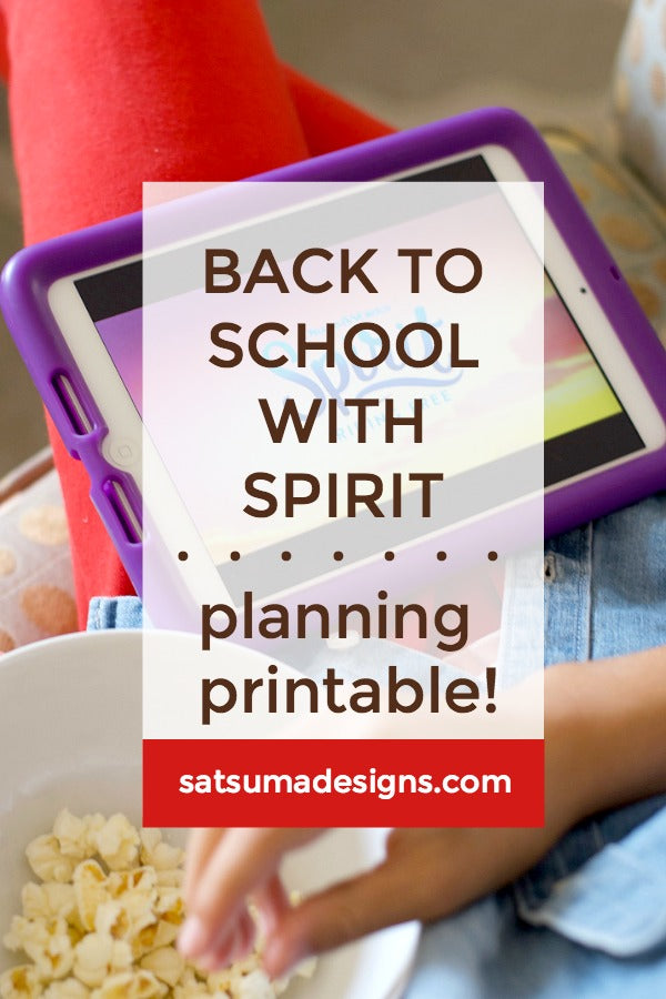 Click through to see how we get back to school with spirit! Free printable weekly planner and goal setting tool for kids | SatsumaDesigns.com #Pop4Spirit #Pmedia #ad