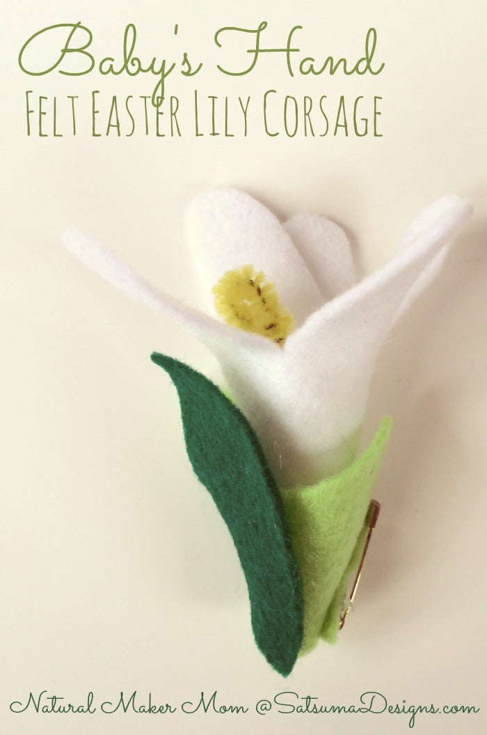 babys hand felt easter lily corsage