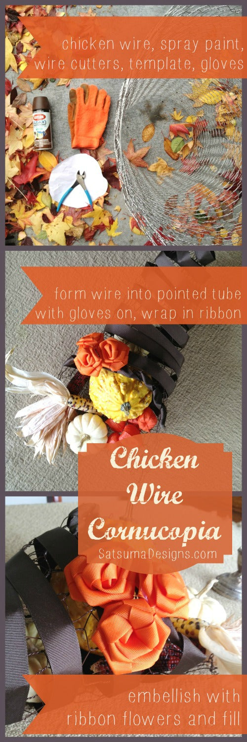 quick and easy chicken wire cornucopia centerpiece from natural maker mom