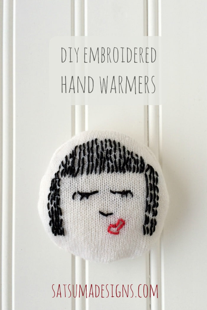 diy embroidered hand warmers