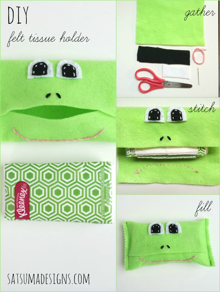 diy felt frog tissue holder