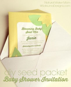 diy seed packet green baby shower invitation