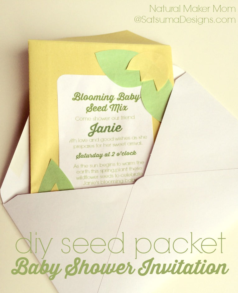 diy seed packet organic baby shower invitation