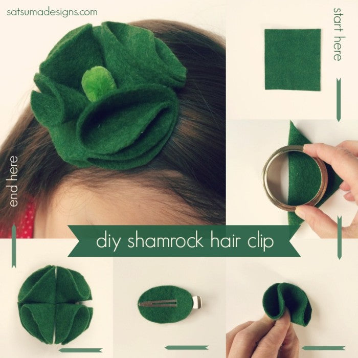 diy shamrock hair clip tutorial