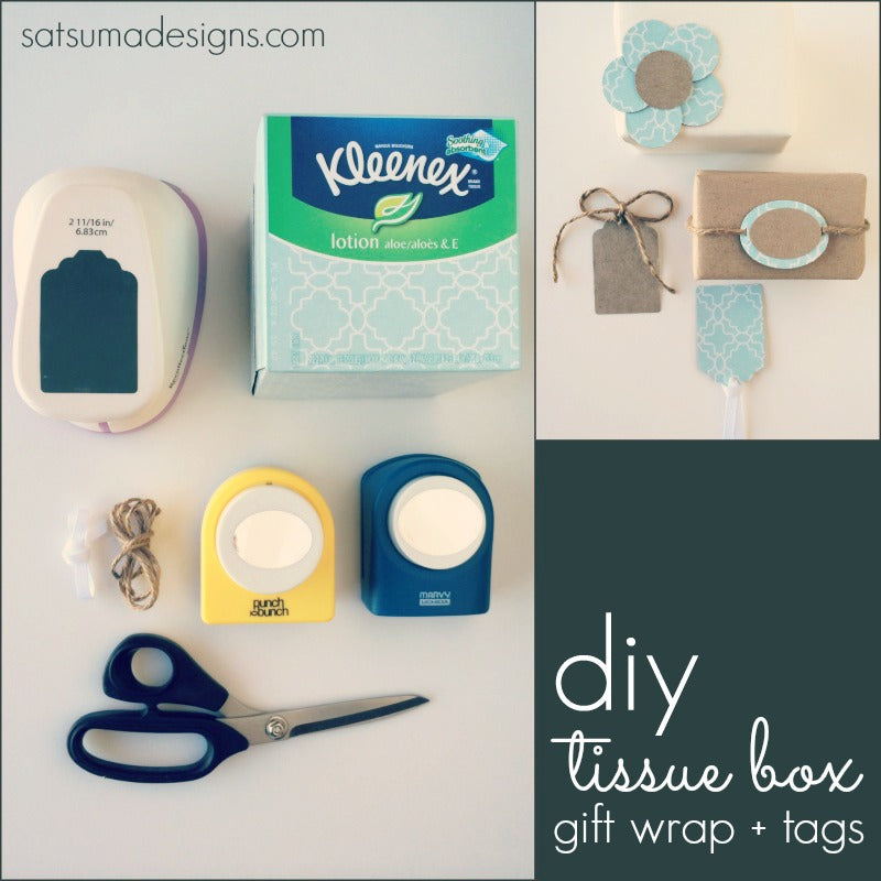 diy tissue box gift tags and wrap
