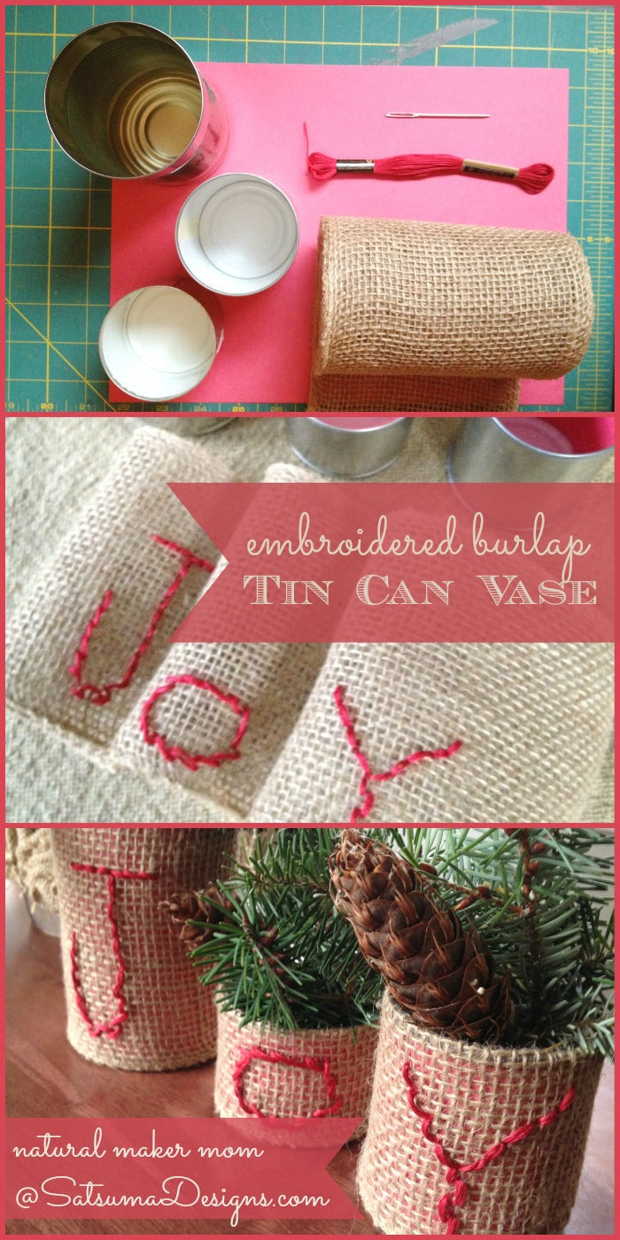 embroidered burlap tin can vases