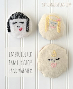 embroidered family faces hand warmers