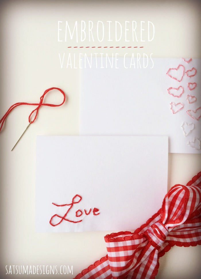 embroidered valentine card