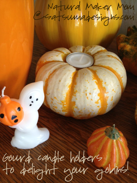 Gourd candle holders from natural maker mom at Satsuma Designs