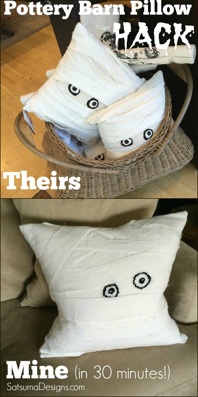 halloween pottery barn pillow hack before and after