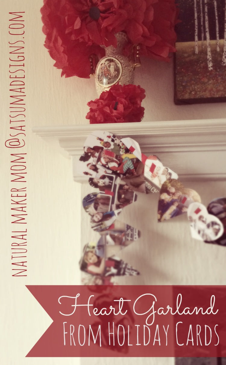heart garland from holiday cards