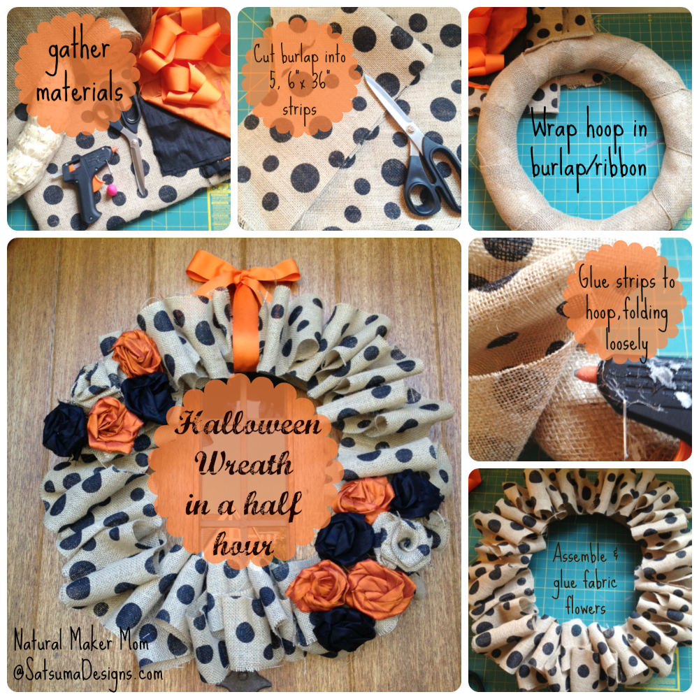 Halloween wreath in a half hour from natural maker mom satsuma designs