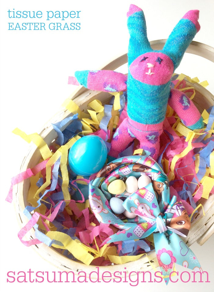 Discover how to make tissue paper Easter grass with just 2 materials you have on hand. Make this easy crinkle basket filler for beautiful Easter baskets. #Easter #Easterbasket #tissuepaper #tissuepapercrafts